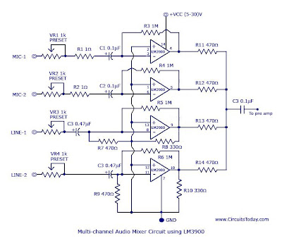 LM3900 Audio Mixer Circuit