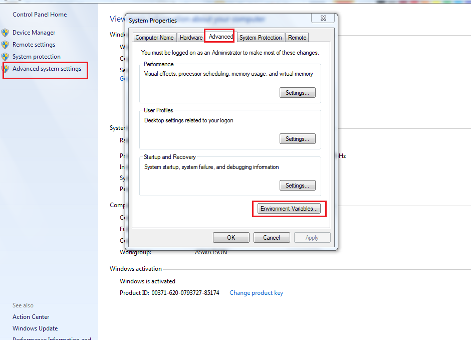 how to set java environment variable in windows server 2012