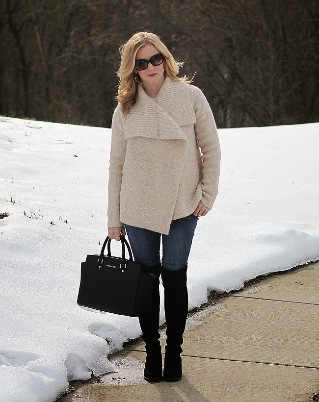 beauty buzz link up, cozy winter style, over-the-knee-boots, stuart weitzman,