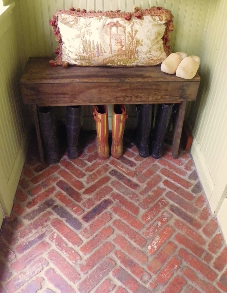 herringbone-brick-mudroom-floor