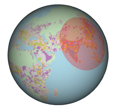 The smallest 3-d circle on Earth that contains a majority of the planet's population