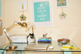 Keep calm and carry on poster at home office