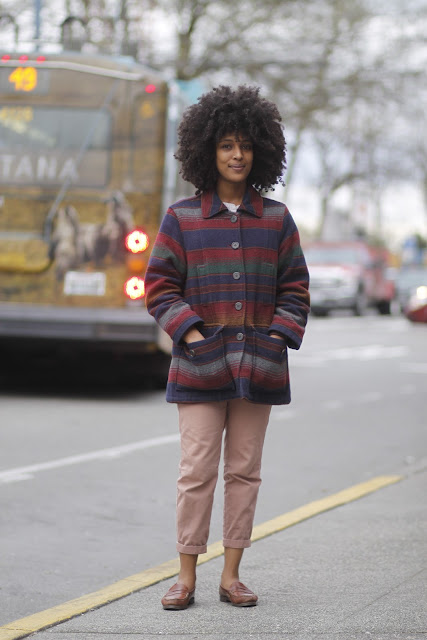 Mariamawit Atnafu Pendleton coat natural hair penny loafer seattle street style fashion it's my darlin'