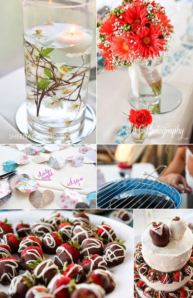 apple blossom center pieces, chocolate covered strawberry wedding cake