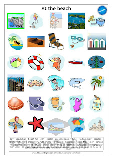 Download this printable worksheet with the following words: bay • beach ball • beach hat • cliff • cooler • dressing room • dune • folding chair • googles • island • kite • life-preserver / rubber ring • lifeguard • motorboat • palm tree • pier • sandals • sandcastle • seaweed • shark • shell • shovel and pail • starfish • sunglasses • sunscreen or suntan lotion • surfboard • swimsuit • towel • umbrella • wave