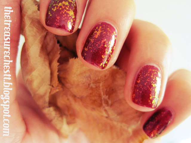 mi ny forever young essence special effect topper flakies autumn manicure tutorial
