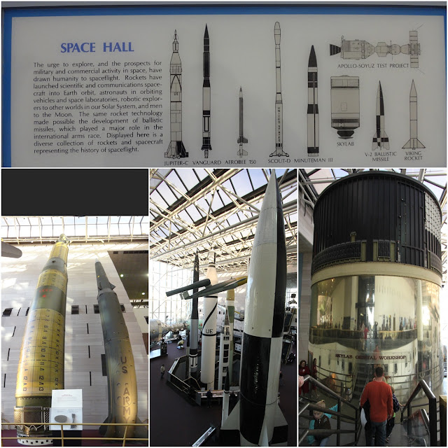 A collection of rockets and spacecraft display at Space and Air Museum in Washington DC, USA