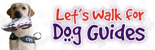 image Service dog carrying sneaker in mouth beside phrase -Let's Walk for Dog Guides