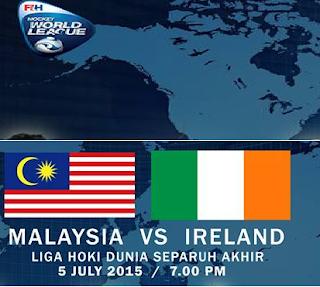 result Malaysia Vs Ireland Liga Hoki Dunia 5 Julai 2015