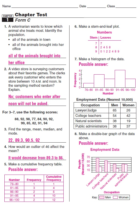 Chapter 3 Lesson 32 Skills Practice Answers