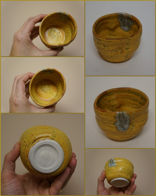 Pottery guinomi or whiskey or tea cup in Ash Yellow by Lily L.