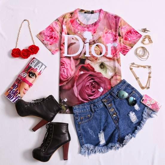 Dior & Roses Print T-shirt