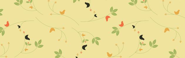 鳥と葉っぱと小さな花がデザインされたかわいいパターン素材 | 商用利用も可なフリーの花柄パターン素材