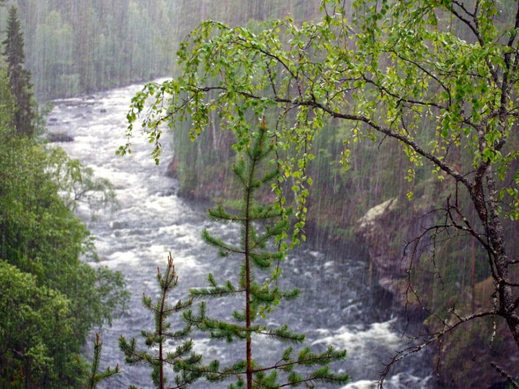 Rain Painting in River