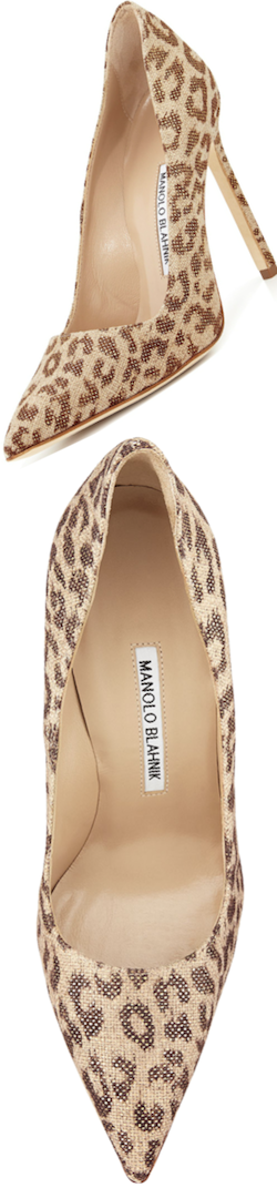 Manolo Blahnik BB Fabric 115 mm leopard pump