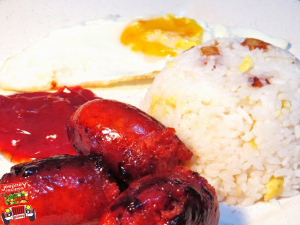 An image of a longsilog breakfast meal