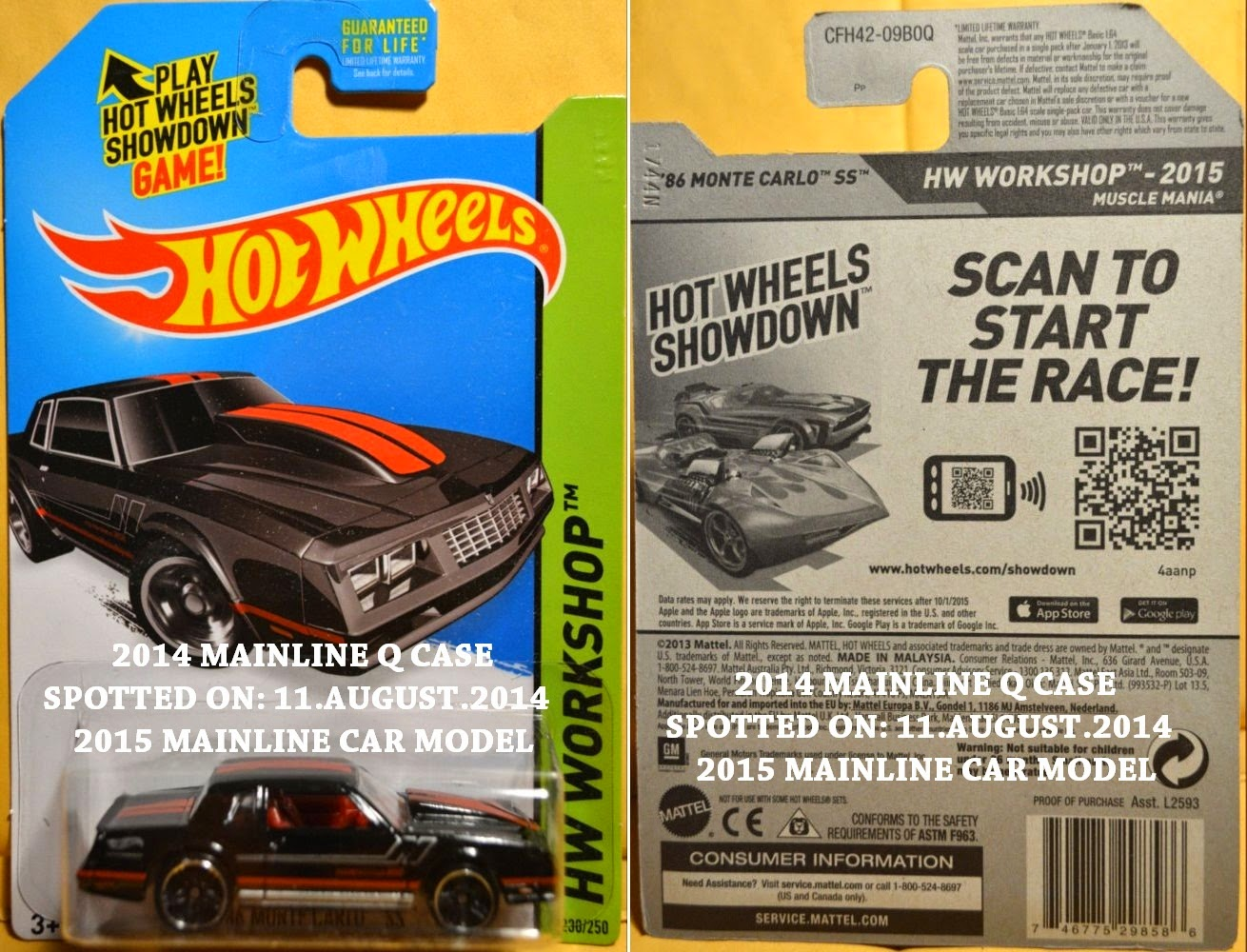 2015 HOT WHEELS LIST (listed in sequence - from left to right):