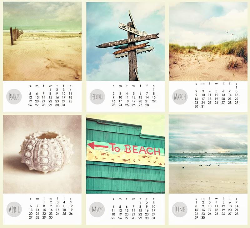 2014 desk calendar, beach