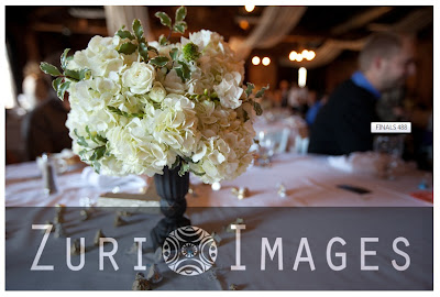 white hydrangea centerpiece, mini urn centerpiece