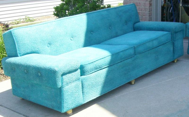 Mid century kroehler turquoise sofa sold gatyo retro - Turquoise sofa ...