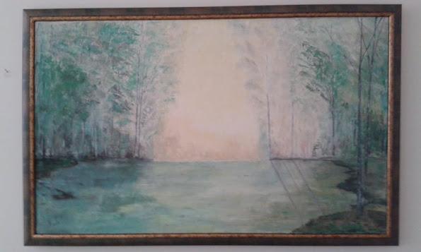 umetnička slika MOJA NIŠAVA 118cm x 75cm ulje na platnu-umetnik Vladisav Bogićević-Luna Niš