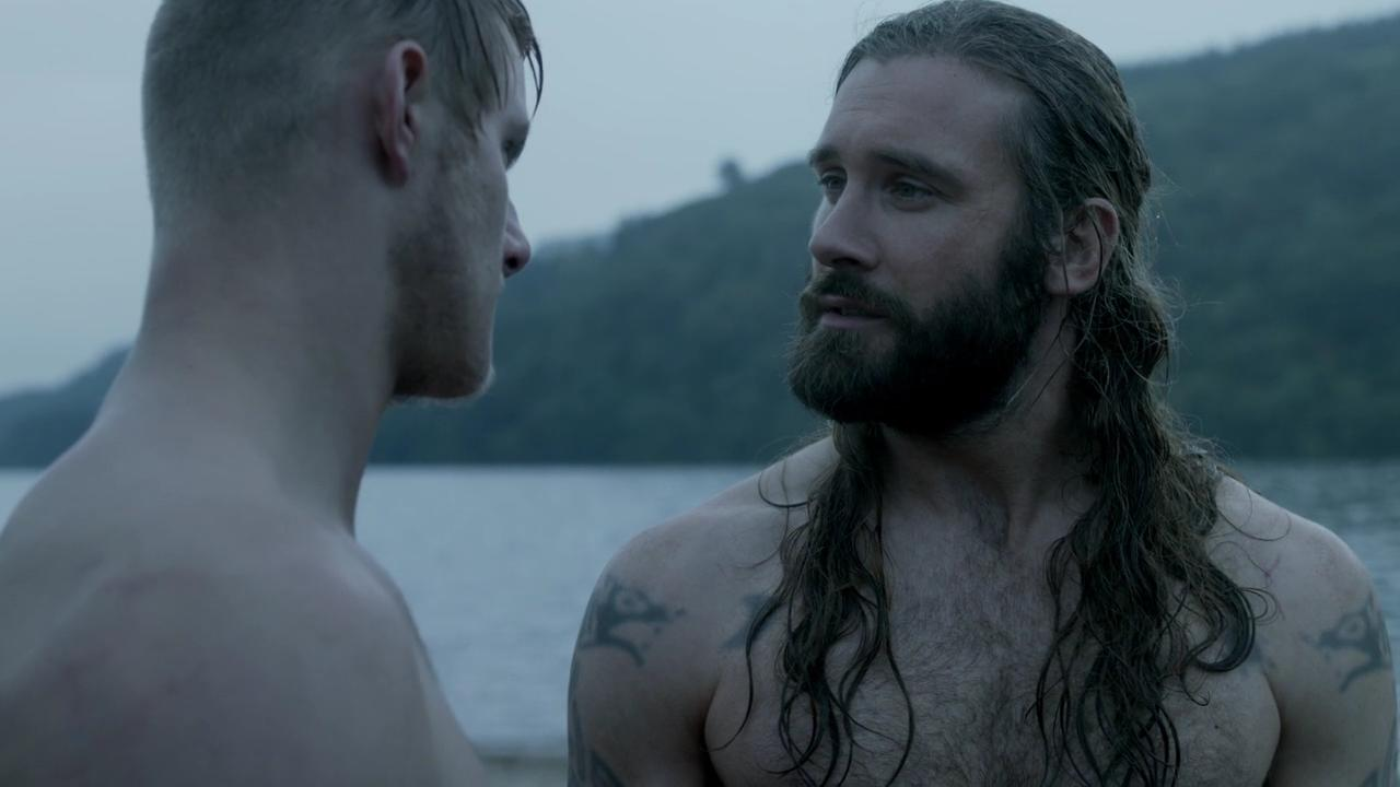 naked Alexander Ludwing Clive Standen and Alexander Ludwig in series Vikings episode Boneless