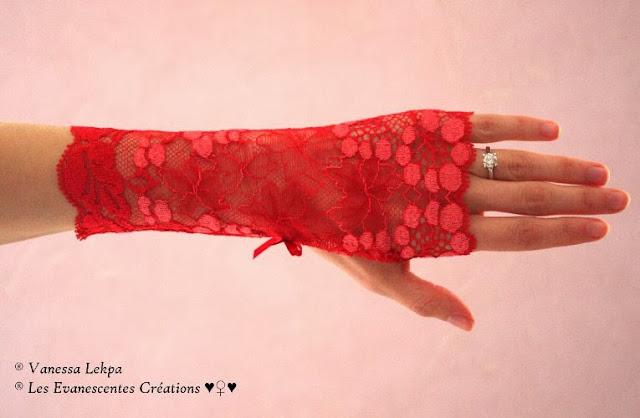 mitaines dentelle rouge sexy glamour pour lingerie hot haut de gamme