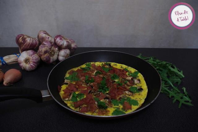 Omelette jambon champignon persil