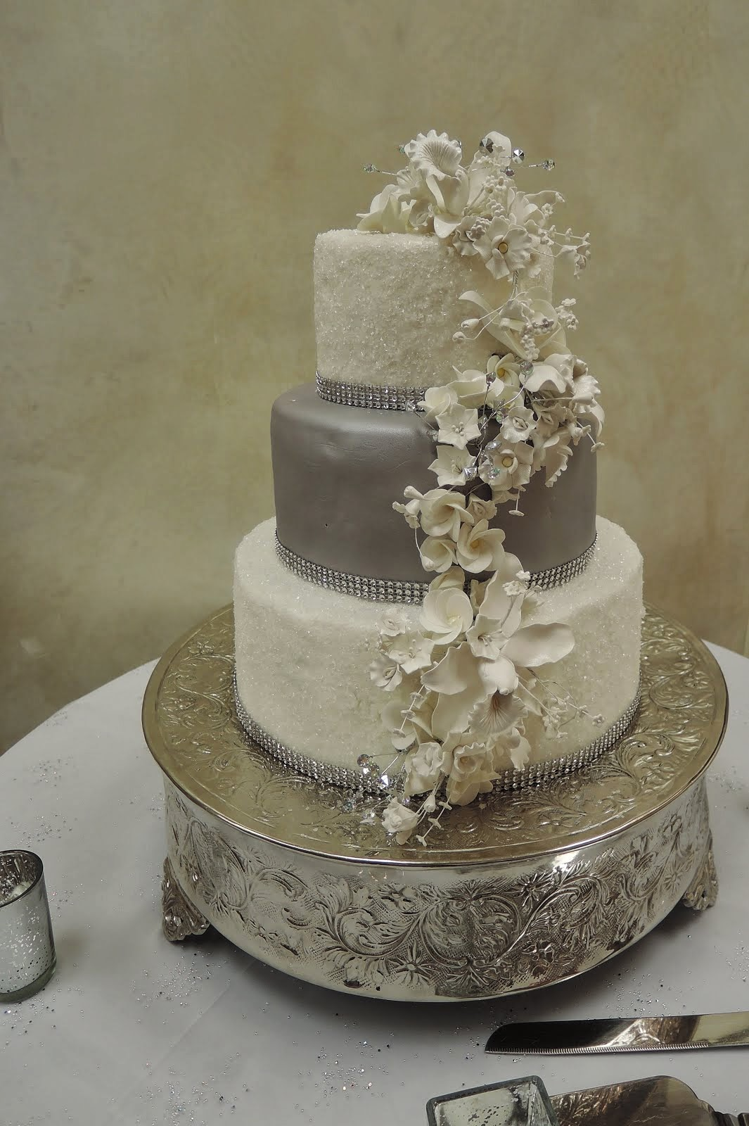 3-tier round fondant with sugar crystals and gumpaste flowers