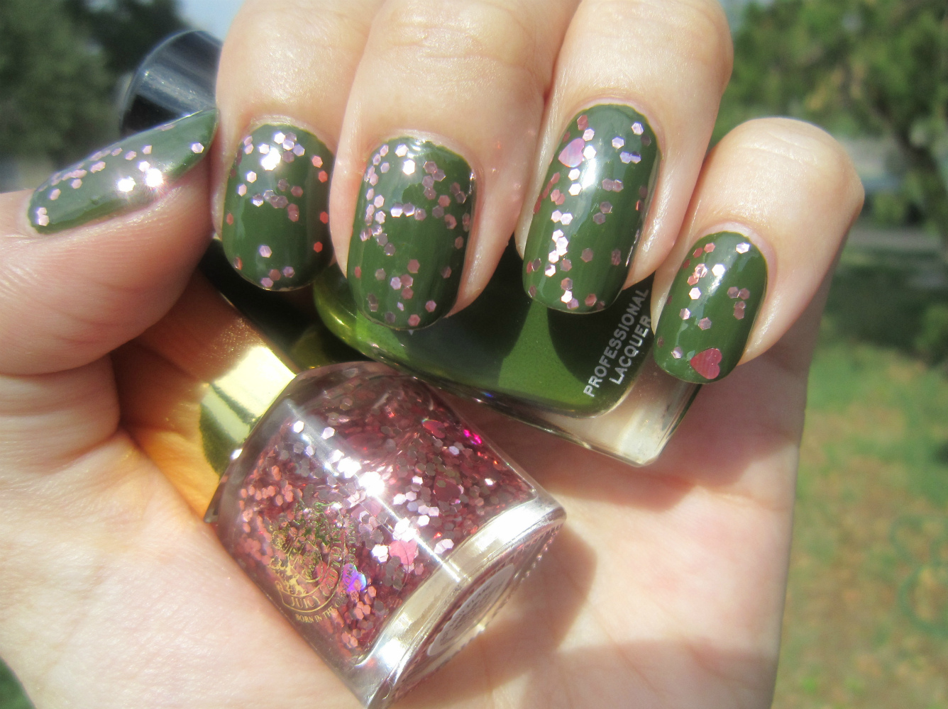 Concrete and Nail Polish: Juicy Couture Pink Glitter & Zoya Shawn