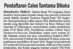 Info Pendaftaran Tamtama TNI AD 2014 (14-31 Maret 2014) Min SMP/MTs