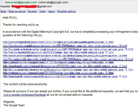 balasan DMCA notice ke Google