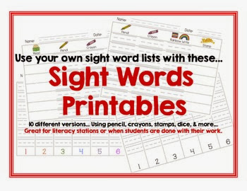 Sight Word Printable Center