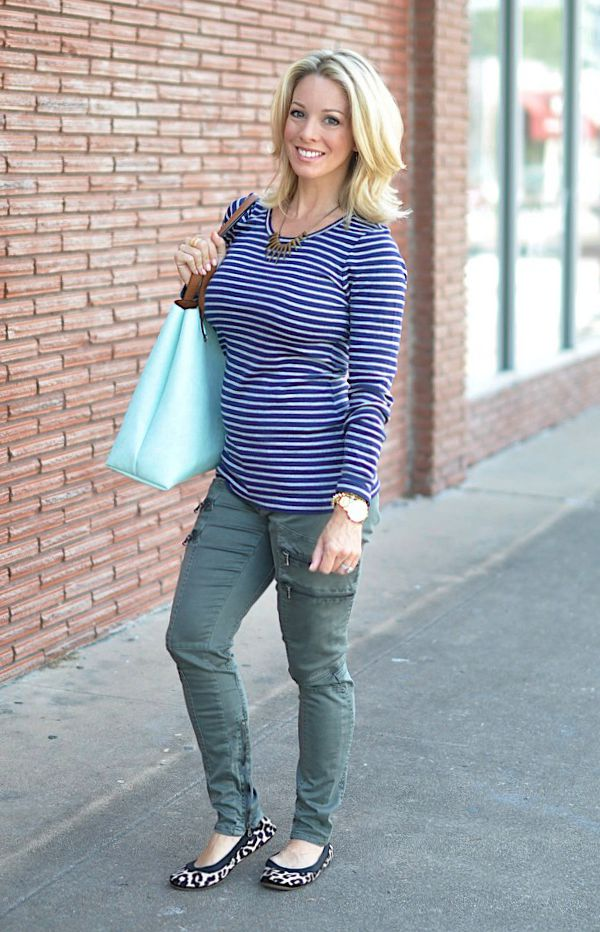 Fall fashion - striped top, military pants, leopard flats