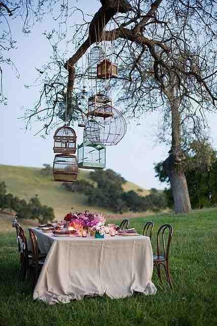 Dekoracyjne klatki zawieszone na drzewie dekoracja garden party