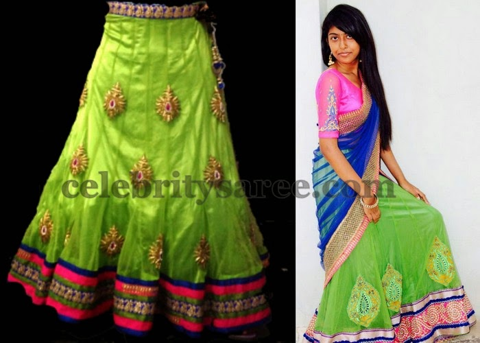 Green lehenga by Divyas