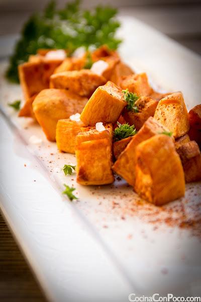Batatas bravas - bravas de moniato - Receta paso a paso