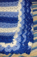 Stripey Lace crochet blanket.