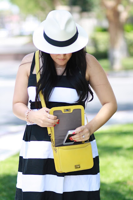 black and white, stripes, yellow bag, ray-ban, loft, fedora, jcrew