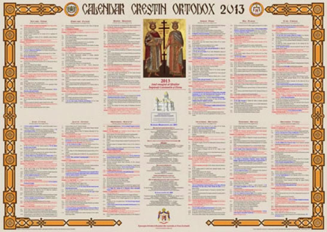 calendar crestin ortodox 2013