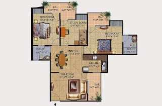 Livingston :: Floor Plans,Block C:-2 BHK (Type C1)3 Bedroom, 2 Toilet, Kitchen, Dining, Drawing, 3 Balconies Super Area - 1320 Sq Ft