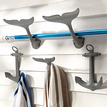 Outdoor Beach Decor -from Anchor to Whale Hooks to Lifesaver Clocks