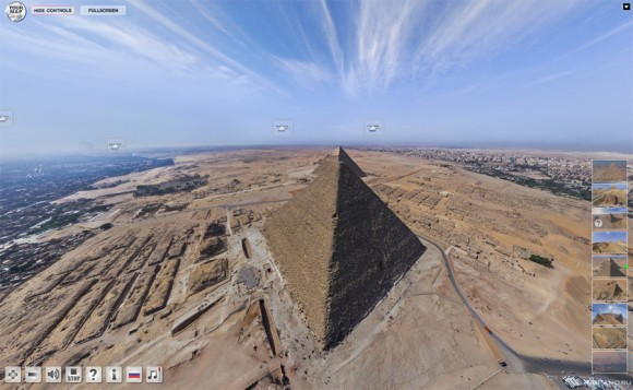 Amazing interactive flash: see giza pyramides  As if you are flying with a helicopter around it!