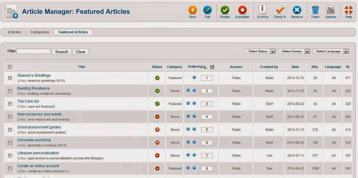 Joomla admin - adjust Featured article ordering