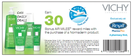 canadian daily deals rexall pharma plus 30 bonus air miles with vichy normaderm purchase. Black Bedroom Furniture Sets. Home Design Ideas