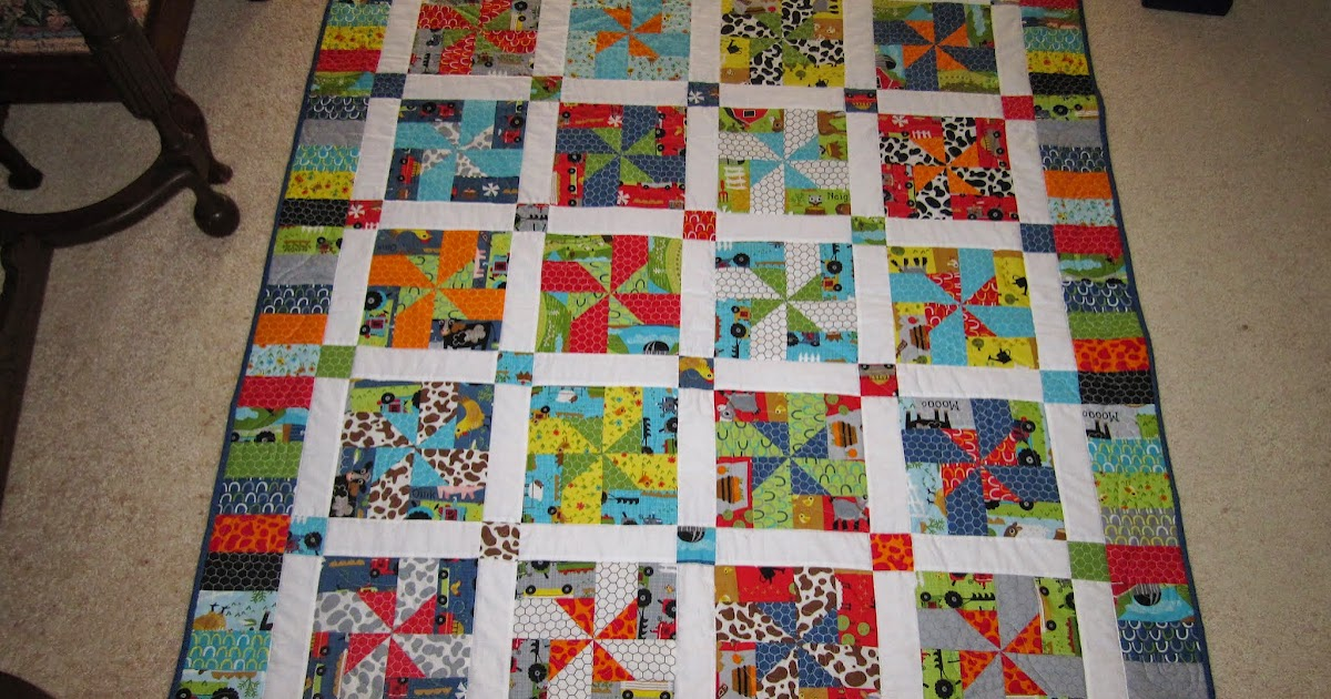 Free Patchwork Quilt Patterns Cots : Mother Patchwork: Farmyard pinwheel cot quilt - done!