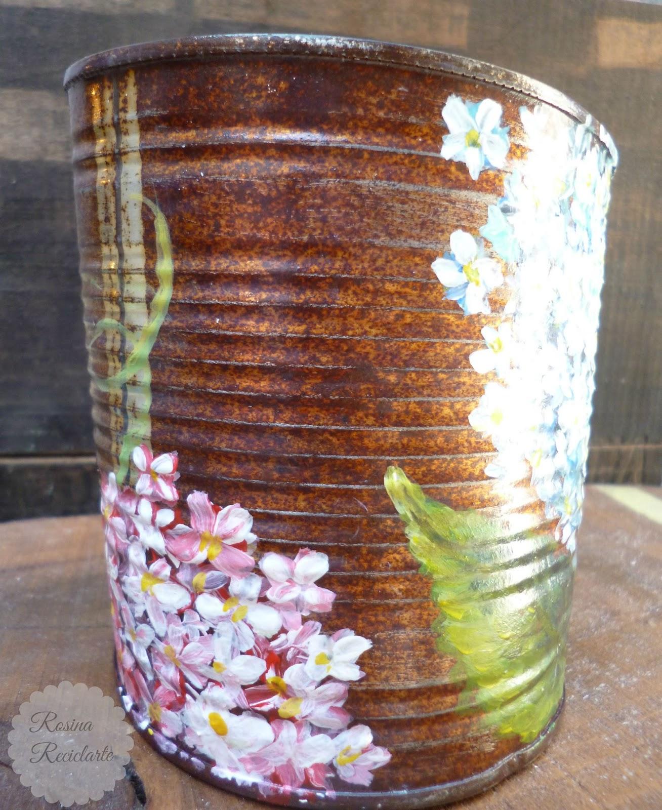 Reciclarte lata maceta for Jardines en lata