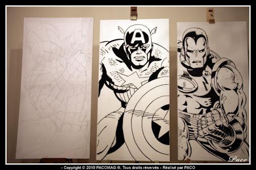 repassage desins Captain América sur toile