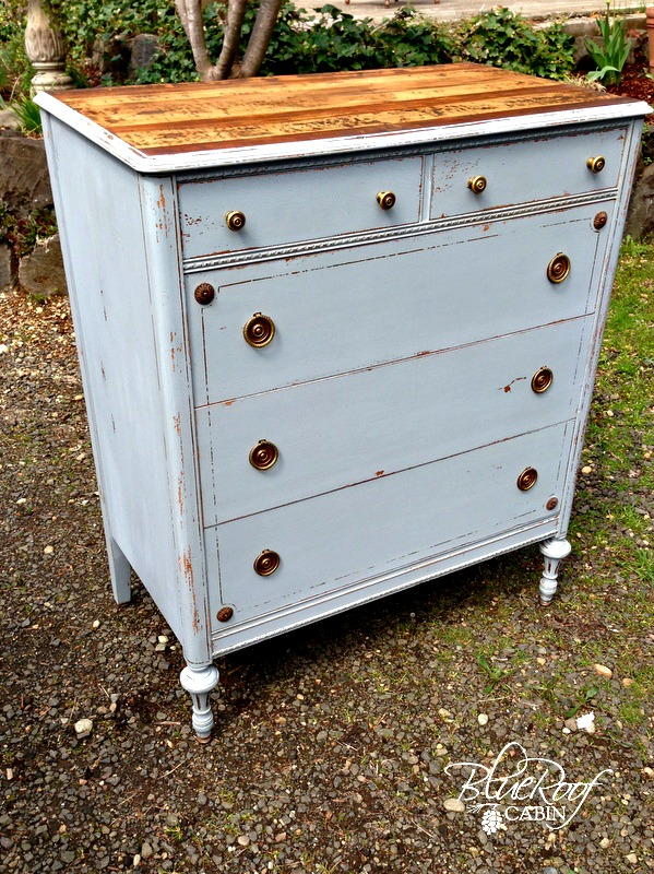 Milk Painted Dresser With Hand Planed Wood Top