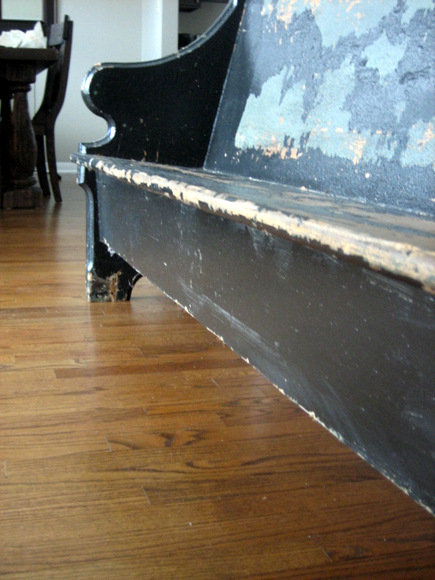 The new church pew has seen better days. But when she's all fixed up she's going to be beautiful!
